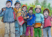 Peru School Kids Sketch